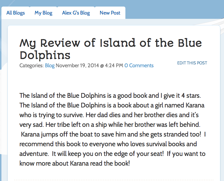 Blogging book reports